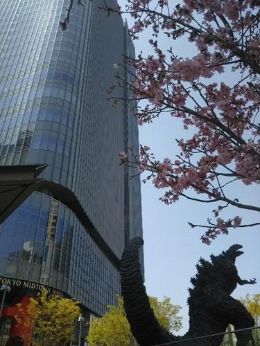 20190406 東京ミッドタウン日比谷&ゴジラ&桜.jpg